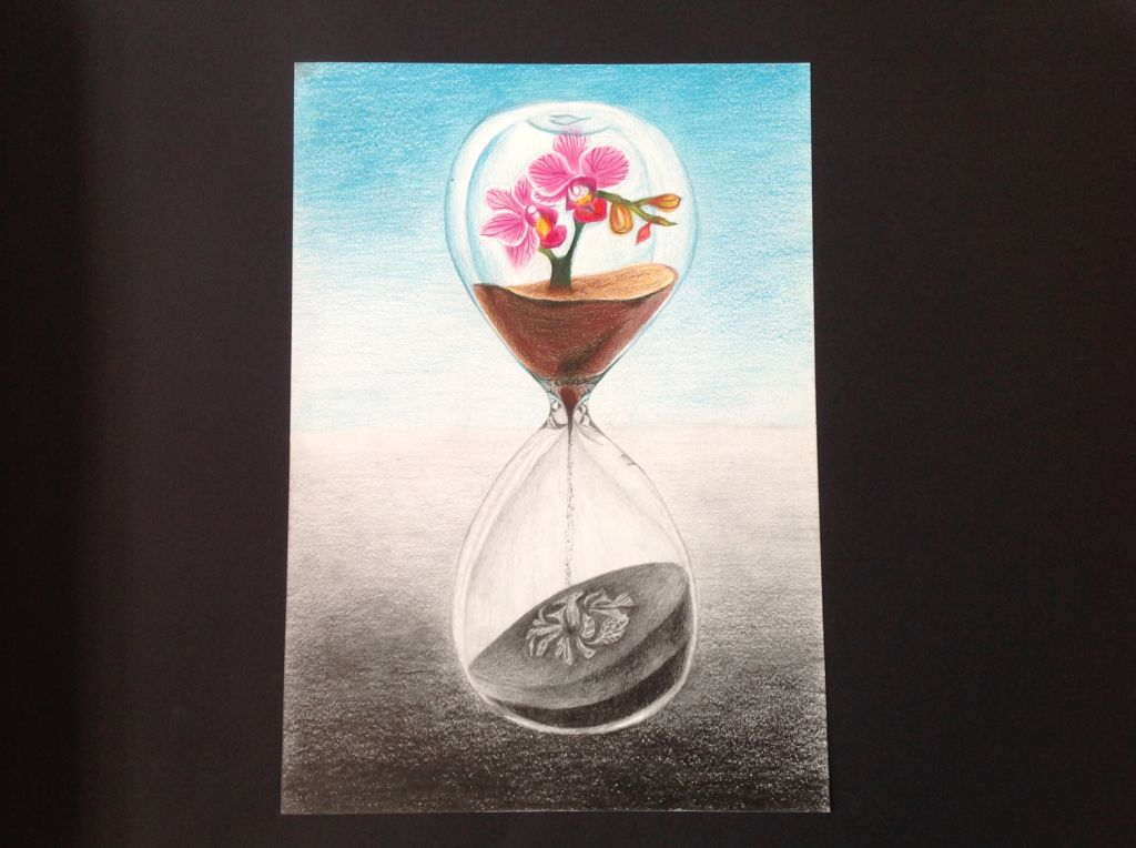 art exam - life dripping away inside hourglass